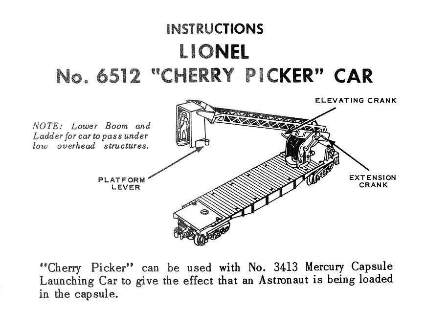 Cherry Picker Jack Parts : Lionel trains cherry picker flat car