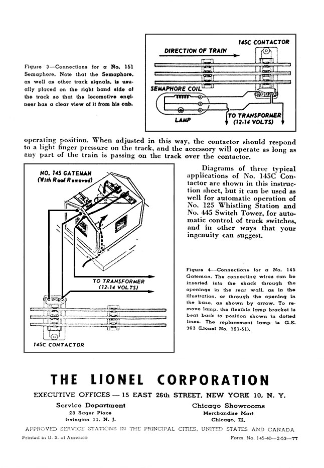 Lionel Trains 145 40 Contactor Instructions Front Page