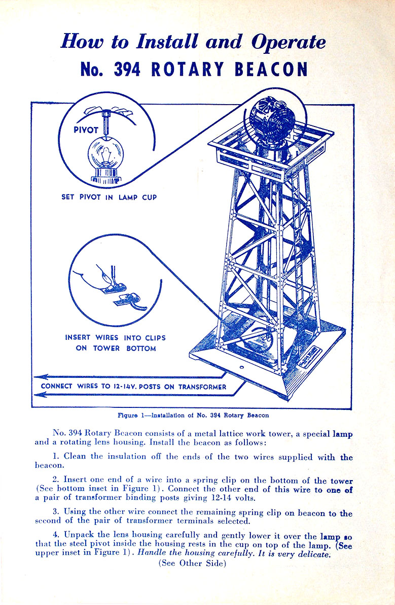 No. 394-30 Instruction Sheet Front Page