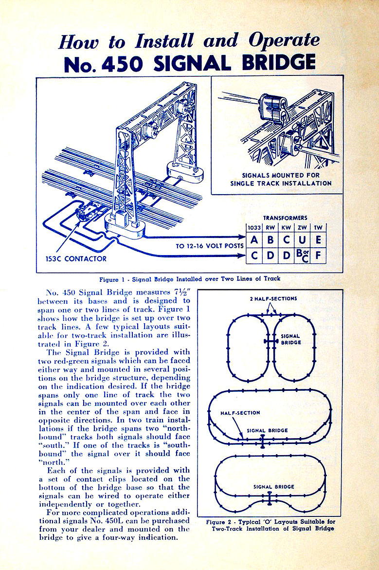 Lionel Trains 450 Signal Bridge Accessory Train Track Wiring No 42 Instruction Sheet Front Page