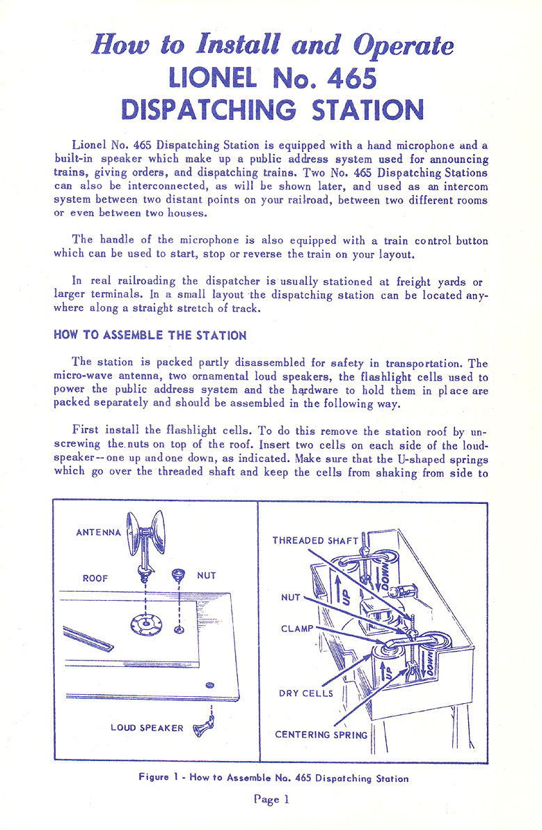 Lionel Trains 465 Sound Dispatching Station Accessory Accessories Wiring Diagrams No 19 Instruction Sheet Page 1