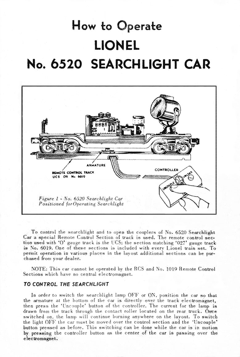 LIONEL TRAINS 6520 SEARCHLIGHT CAR – Lionel Remote Control Track Wiring Diagrams